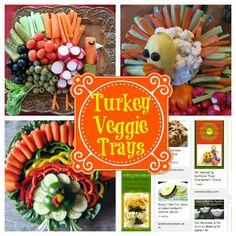 Fun veggie trays that look like Tom Turkey! :)