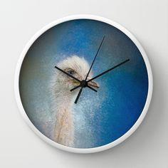 Blue Eyed Beauty - White Ostrich - Wildlife Wall Clock by Jai Johnson - $30.00