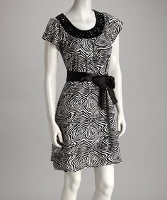 Take a look at this Black Spiral Dress by Ash & Sara on #zulily today!