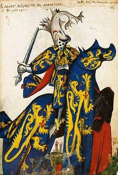 Images from an Armorial, or book of heraldry depicting the various symbols, helmet and costumes worn by the various knights. I like this guy with a fish on his helmet.
