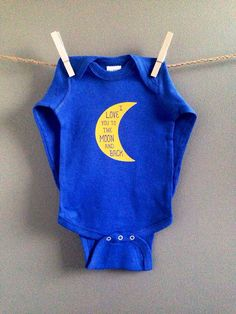 What a wonderful baby shower gift or outfit for a special baby in your life!    This sweet I love you to the moon and back design is in yellow on a