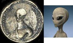 Encotradas moedas antigas com imagens de alienígenas. ~ NerdTecnoGeek