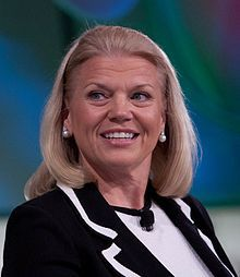"""Virginia Marie """"Ginni"""" Rometty is an American business executive; the president and CEO of IBM. She is the first woman to head IBM.[1] Prior to becoming president and CEO in January 2012 she held the position of Senior Vice President and Group Executive for Sales, Marketing, and Strategy at IBM. She has been named to Fortune magazine's """"50 Most Powerful Women in Business"""" for seven consecutive years, ranking #7 for 2011.[2] She was also named to the Time 100 in 2012.[3] #womenintech"""