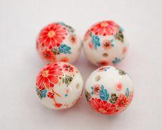 White glossy oriental peonies Japanese tensha beads by beadlabong