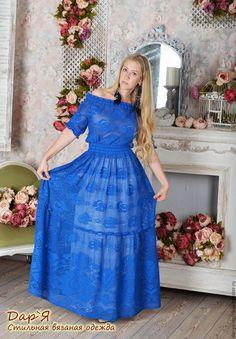 """Платья ручной работы. """"Королева Роз"""" - платье с секретом ;). Дар'Я - стильная вязаная одежда. Ярмарка Мастеров. Филейное платье"""