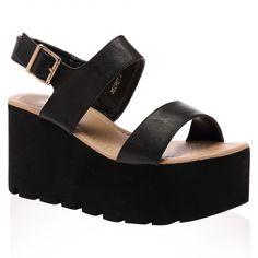 Faye Black Chunky Flatform Sandal