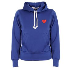 Comme Des Garcons Play Red Logo Sportswear Hoody (5.400.980 VND) ❤ liked on Polyvore featuring tops, hoodies, red hoodies, hooded pullover, drawstring hooded pullover, red top and blue hoodies