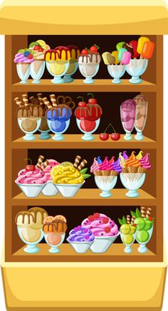 Ice Cream Shop by GurZZZa Vector illustration. It is created in the CorelDraw program. It is edited in the Adobe Illustrator program. It is kept in illustra Paper Doll House, Paper Dolls, Ice Cream Background, Adobe Illustrator, Image Clipart, Printable Planner Stickers, Diy For Kids, Food Art, Coloring Pages