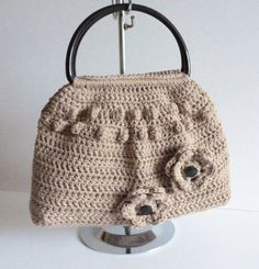 Crochet bag latte chocolate brown recycled cotton yarn fully lined eco friendly