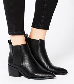 ASOS Right About Now Pointed Chelsea Ankle Boots in Black