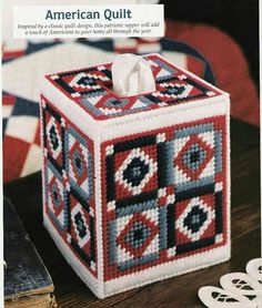 Heres a pretty 4 block quilt pattern on a tissue cover to hide the ugly box tissues usually come in! Easy to make, pretty in any room