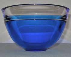 Wonderful NEPTUNUS Blue INCALMO Signed ORREFORS Glass BOWL Modern LARS HELLSTEN