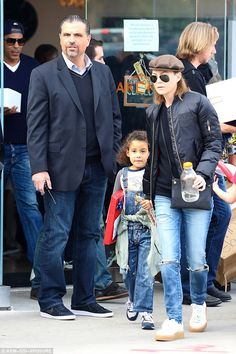 Birthday fun: Ellen Pompeo guided her daughter Stella Luna out of a second bash for Blue I...