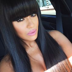 Her Bangs Tho Makes Me Want To Get Em Done And Dye My Hair Blue Black
