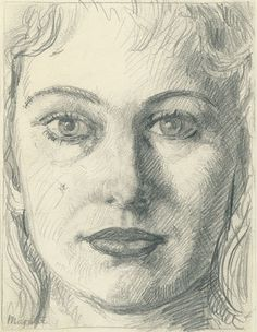 """Etude pour """"Anne-Marie Crowet"""" Crayon sur papier """"Technic Monopol"""" déchiré le long du bord droit Signature dans le bas à gauche : Magritte ; au revers : 07. / tel.32.65.92 / mercredi 13 janvier à 2 1/2 h Dimensions : 275 x 177 mm Origine : Legs de Mme Irène Scutenaire-Hamoir, Bruxelles, 1996 Musées royaux des Beaux-Arts de Belgique, Bruxelles"""