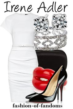 A fashion look from May 2013 featuring belted dresses, black high heel shoes and handbags clutches. Browse and shop related looks. Nerd Outfits, Fandom Outfits, Chic Outfits, Movie Outfits, Themed Outfits, Fandom Fashion, Geek Fashion, Fashion Beauty, Irene Adler