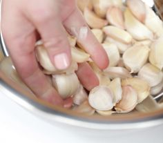 Need a lot of garlic cloves peeled, fast? Try this easy trick.