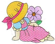 Sunbonnets and Flowers - Earlas Machine Embroidery | OregonPatchWorks