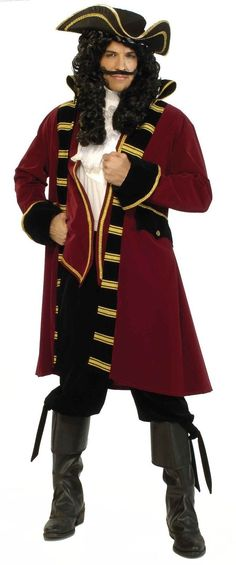 eefd5d5466a Deluxe Pirate Captain Costume Hat Lace Jabot Jacket Halloween Cosplay Dress  Up