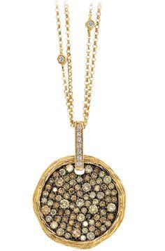 Robinson Pelham Kilko pendant..black rhodium, blk diamonds, gold