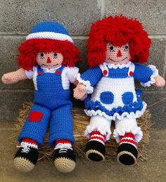 Raggedy Ann and Andy dolls.  Check out this item in my Etsy shop https://www.etsy.com/listing/237443024/crochet-raggedy-ann-and-andy-dolls