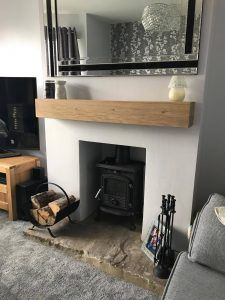 Oak Fireplace Beam Mantle / Mantelpiece Planed and Sanded Celtic Timber mantels Cottage Style Living Room, Living Room White, White Rooms, New Living Room, Home And Living, Living Room Decor, Wood Burner Fireplace, Cosy Fireplace, Oak Mantle