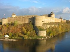 Narva, Estonia-this castle is actually a picture of a Russian castle. The person taking the photo is standing right in front the Estonian Castle.