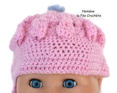 Bonnet rose, pour bébé, fait main au crochet,