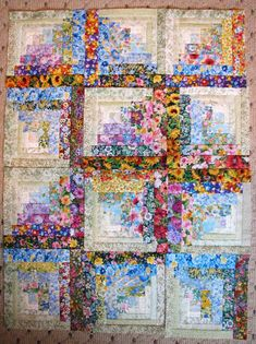 Watercolor Floral Log Cabin Quilt - country quilts Log Cabins, Diy Log Cabin, Log Cabin Homes, Floral Quilts, Floral Fabric, Log Cabin Patchwork, Log Cabin Quilt Pattern, Log Cabin Quilts, Quilting Patterns