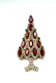 Strass vintage albero di Natale/spilla