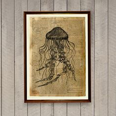Jellyfish print on handmade antiqued dictionary page. Nice 8.3 x 11.7 inches (A4) nautical poster. Rustic decor print for home and office. BUY 1 GET
