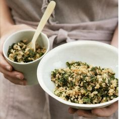 Gwyneth Paltrow's healthy fried rice with kale and spring onions.  Add edamame for protein?