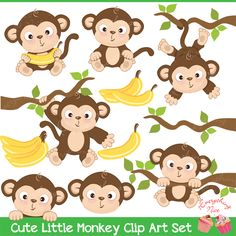 Decorate any art project with this Cute Little Monkey Clipart Set, also perfect… Monkey Birthday Parties, Birthday Wall, Monkey Drawing, Monkey Illustration, Monkey Crafts, Art Projects, Sewing Projects, Five Little Monkeys, Monkey Tattoos