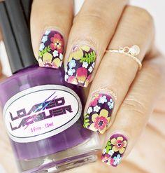 Purple floral nailart #nailart #flowernail