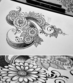 Faheema Patel, Junoon Designs - Slight variation from most mehndi-style flowers that I have seen, with an additional row of petals and small circles around the center swirl.