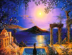 """Garden of Thera"" by John Mason Visionary Art on Iasos #sea; trees; temple ruins; pool;"