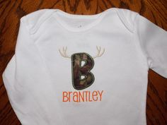 Personalized Onesie - camouflage letter with horns - hunting Onesie - short or long sleeves - made to order. $17.00, via Etsy.