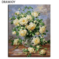 Hot Selling Frameless Picture Home Decor Flower Painting By Numbers Handwork Draw On Canvas Wall Art Flower For Living Room G439