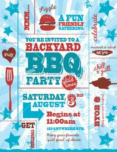 Red white and blue themed BBQ invitation design template Royalty Free Stock Vector Art Illustration