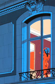 A Serie of five original illustrations threw the windows of Paris.Gouache and black ink.