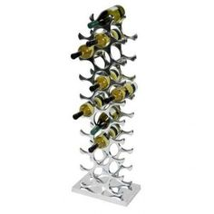 Shop the Eichholtz Industrial Loft Alboran Polished Aluminum Wine Rack and other Bar Accessories at Kathy Kuo Home Bottle Wall, Wine Bottle Holders, Hanging Wine Glass Rack, Wine Rack Design, Rustic Luxe, Bar Accessories, Wine Storage, Aluminium, Designer