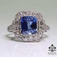 Antique Art Deco Platinum Diamond & 2.67ctw Sapphire Ring