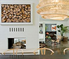 Firewood storage and fireplace love! Brush Prairie House by Jessica Helgerson Brick Fireplace, Fireplace Design, Fireplace Ideas, Fireplace Lighting, Fireplace Candles, Craftsman Fireplace, Simple Fireplace, Fireplace Seating, Fireplace Update