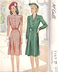 1940s Misses Dress Vintage Sewing Pattern  McCall Pattern 5167 - stripes