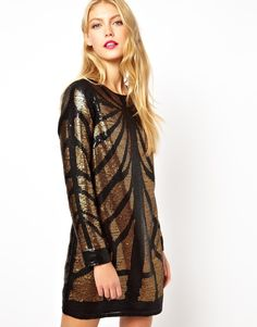 $127, Brown Sequin Shift Dress: Asos Animal Sequin Long Sleeve Mini Dress. Sold by Asos. Click for more info: https://lookastic.com/women/shop_items/108323/redirect