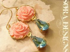 Rose and Mint Earings on Etsy