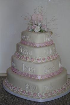 4 tier heart wedding cake