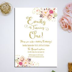 Pink and gold first birthday invitation by HappyLifePrintables