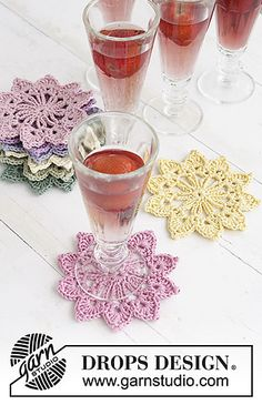 "Crochet DROPS coasters in ""Muskat"""