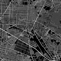 Guadalajara, Mexico, downtown vector map.  Art print pattern. White streets, railways and water on black. Bigger bridges with outlines. This map will ... ... #map #downloadable #background #vector #design